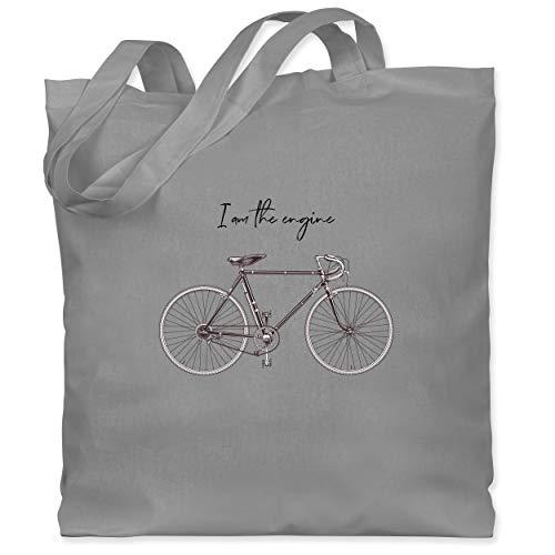 Shirtracer Radsport - I am the engine - Unisize - Hellgrau - jutebeutel brötchen - WM101 - Stoffbeutel aus Baumwolle Jutebeutel lange Henkel