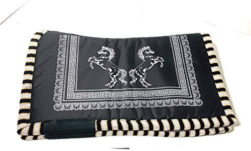 Horse Saddle Pad Carona Suadero Charro para Caballo Saddle Blanket (Black)