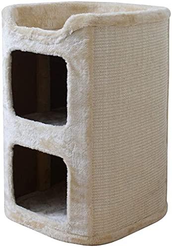 JIAChaoYi Condominio para Gatos de 2 Niveles, árbol de Gatito de Torre de Barril de condominio de Doble Orificio con Tablero para raspar, 24.0 Pulgadas