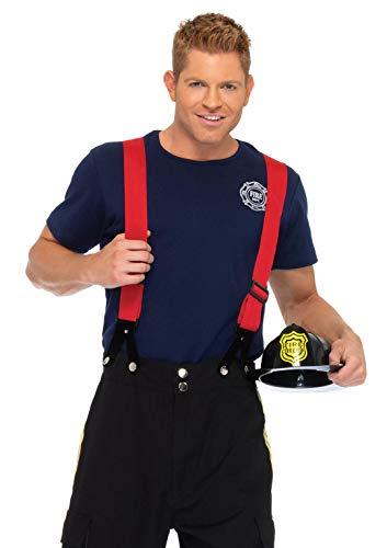 Leg Avenue Men's 3 Piece Fire Captain Costume, Black/Red, covid 19 (Leg Avenue 3 Piece coronavirus)