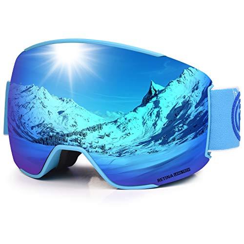 LEMEGO Skibrille Ski-Goggle Snowboardbrille Doppel-Sphärisch Linse OTG UV-Schutz Anti-Fog Helmkompatible Schneebrille Verspiegelt mit Magnet-Wechselsystem Brille für Brillenträger Herren Damen (Blau)