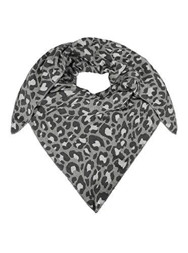 Zwillingsherz Dreieckstuch aus Baumwolle - Hochwertiger Schal mit Leo Design für Damen Jungen Mädchen - Uni - XXL Hals-Tuch und Damenschal - Strick-Waren - für Herbst Frühjahr Sommer grau