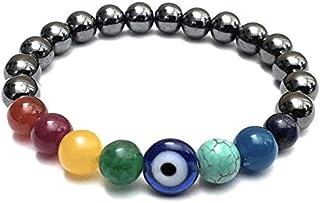 The Bling Stores Original Seven 7 Chakra Round Beads With Evil Eye Bracelet For Men Women & Kids