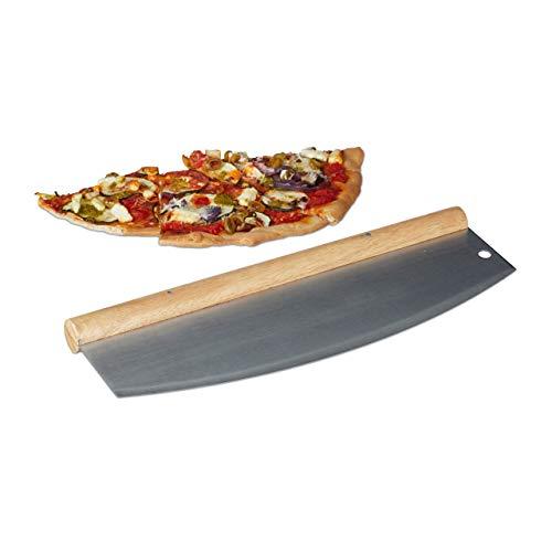 Relaxdays Pizza Wiegemesser, Edelstahl Pizzaschneider mit Holzgriff, 1 Klinge mit Schutzhülle, HxB: 12 x 35 cm, silber