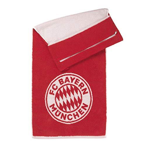 FC Bayern München Towell Bayern Fanartikel Duschtuch | Sporthandtuch mit integrierter Tasche | Magnetclip zum aufhängen | 100% Baumwolle [Farbe Rot]