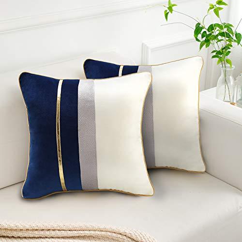 Fundas para Cojines Decorativos para Sofa 45x45cm Juego de 2 Terciopelo Funda Almohada Azul Patchwork Funda Cojin para Sofa Cama Sillas Sala de Estar Dormitorio Jardín Coche Throw Fundas de Almohada