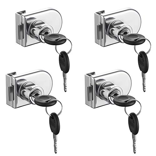 SHEENO 4Pcs Double-Open Glass Door Display Cabinet Display Cabinet Safety Lock, Suitable for 0.2-0.31