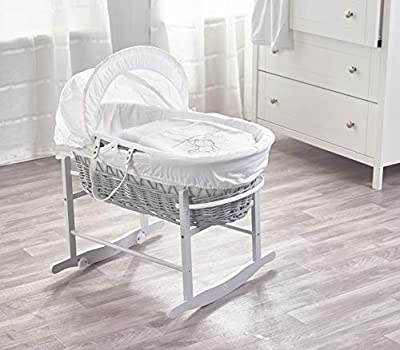 White Teddy Wash Day On Grey Wicker Moses Basket & Deluxe Dove Grey Rocking Stand