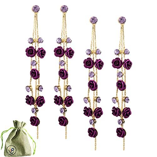 Pendientes largos de borla de rosa púrpura, exquisitos pendientes de gota de pétalo simples de plata 925 hechos a mano accesorios de moda para mujeres,