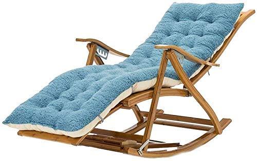 LLSS Tumbona Sillas de jardín Tumbona Plegable Mecedora Silla Multifuncional para Siesta, con Rueda de Masaje de pies Cojín de algodón Plegable para Adultos Sillón de bambú pa