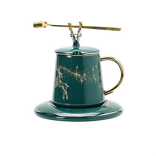 XDYNJYNL Taza de café y platillo Verde de Porcelana, 8.11oz / 240ml Capuchino ecológico Creativo Tazas Latte Espresso Tazas con Mango Desayuno Taza Bebida Taza de Bebida Taza Taza de Cerveza Tazas