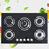 30 Inches Black Tempered Glass Panel Built-in Gas Cooktop and Porcelain Enamel Grates Gas Cooktop Black 5 Burners Gas Stove Countertop Gas Hob 5 Burner Cooktops Gas Cooker for Griddle, Pan