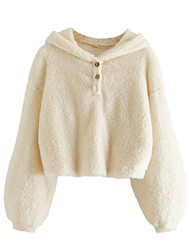 Verdusa Women's Long Sleeve Faux Fur Buttoned Teddy Hoodie Sweatshirt Beige XL