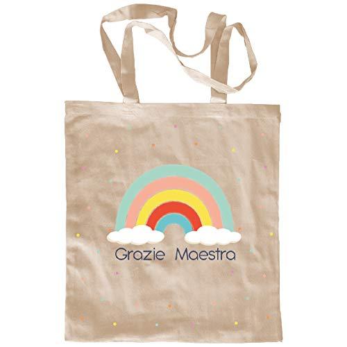 My Custom Style Borsa Shopper Cotone Beige#Scuola-Arcobaleno# M70