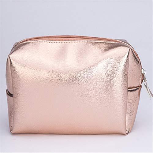 Femmes Mode Sac cosmétique en or rose sac de maquillage Make Up Zipper sac à main Organisateur de stockage ÉTUI Wash Beauty Box Toiletry (Color : Pink)