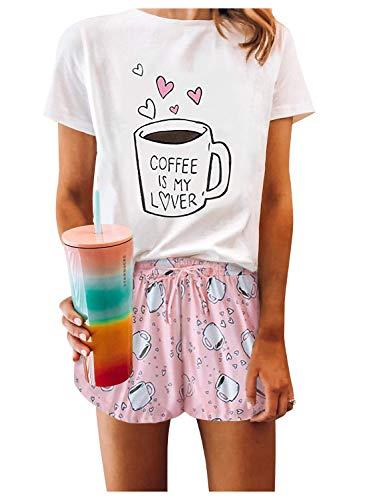 Camicia da Notte Donna Manica Corta Arcobaleno Pigiama Tie Dye Tuta Due Pezzi Ragazza Tumblr T-Shirt e Pantaloncino Pigiami Estivi Divertenti Abbigliamento da Casa Casual Biancheria 2262PK2XL