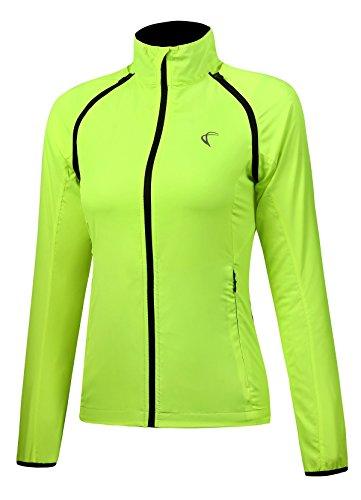 J.CARP Convertible Women Cycling Jacket Windproof Water Resistant Softshell Yellow M