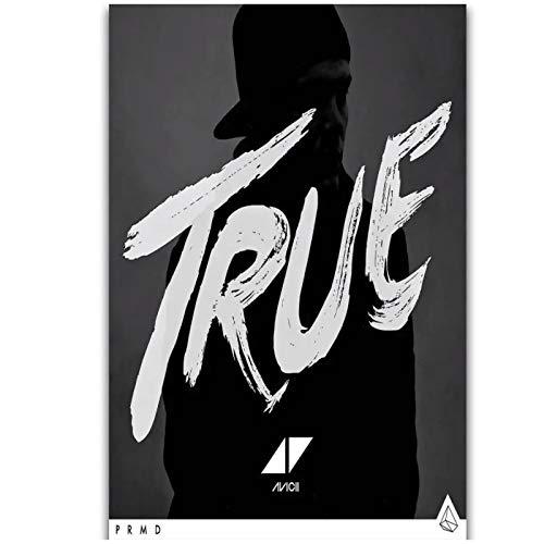 SDGW Portada del Álbum True Avicii DJ EDM Star Wall Art Pintura Impresa En Lienzo Póster Decoración del Hogar-50X70Cm Sin Marco