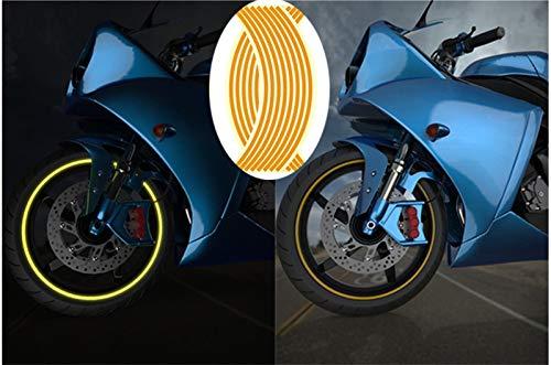Honored Pegatinas reflectantes para llantas de motocicleta de 45,72 cm para bicicleta, bicicleta, noche, reflectante de seguridad, banda decorativa universal para llantas (color: amarillo, tamaño: 18)