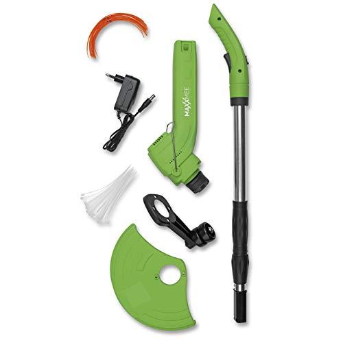 MAXXMEE Akku-Rasentrimmer | verwendbar mit Trimmerfäden und allen handelsüblichen Kabelbindern bis 8 mm | integrierter Blumenschutz und Schutzblende | 1200 mAh [Grün]