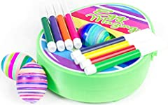 ✅NO DYES - NO SMELLS! it's all the fun without the mess. Comes with 8 colorful markers allowing you to create endless designs. ✅The EggMazing egg decorator will CHANGE the way FAMILIES decorate their Easter eggs ✅Great DIY craft, SPIN hard boiled egg...