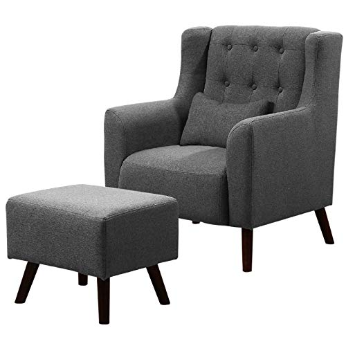WarmieHomy Linen Fabric Armchair Buttoned Wing Back Occasional Accent Chair with Footstool for Bedroom Living Room Office Lounge Reception (Dark Grey)
