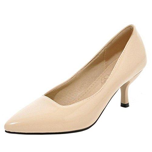 RAZAMAZA Mujer Formal Oficina Vestir Zapatos Tacon de Aguja Apricot Size 37...