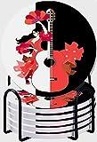 CIKYOWAY Posavasos para Bebidas,Hermoso Vestido de niña española Volantes Rosas Abanico Baile Flamenco Guitarra Grande sobre Fondo Blanco y Negro Juego de 6 Posavasos con Soporte,Regalo para el hogar