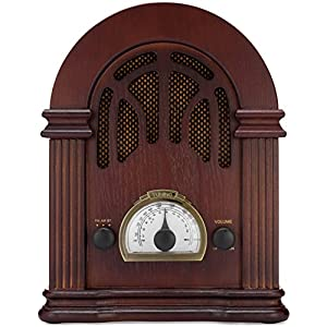 ClearClick Retro AM/FM Radio with Bluetooth - Classic Wooden Vintage Retro Style Speaker