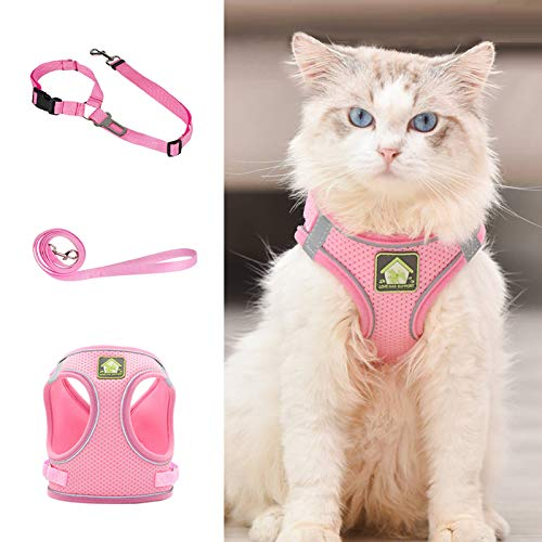 Grneric Cat Harness and Leash Set for Walking, Escape Proof Vest Harness with Soft Mesh, Adjustable Velcro, Reflective Strips for Kitten Cats and Puppy Dogs