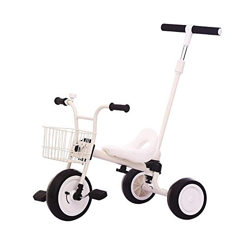 XIAOYANG Radio Flyer Tricycle 1-3-5-6 Years Old Bicycle Child Stroller Baby Tricycle Portable Seat with Bell Best Choice for Birthday Gifts 3 Color Options (Color : White)