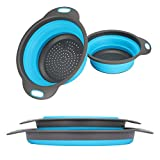 Collapsible Colander, 2 Collapsible Set, Learja Food-Grade Silicone kitchen Strainer Space-Saver Folding Strainer Colander, Sizes 8 inches - 2 Quart, and 9.5 inches - 3 quart (blue)