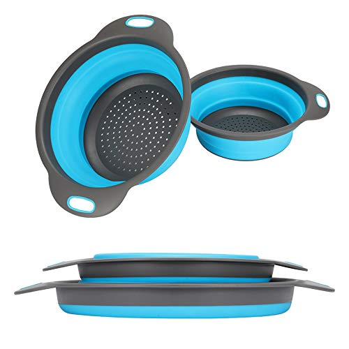 Collapsible Colander, 2 Collapsible Set, Learja Food-Grade Silicone kitchen Strainer Space-Saver Folding Strainer Colander, Sizes 8 inches - 2 Quart, and 9.5 inches - 3 quart. (Blue)