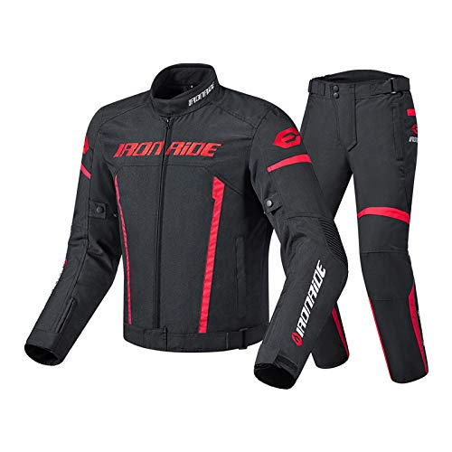 QQA Motorrad Jacke mit Protektoren - Textil Motorrad Jacke Motorrad CE gepanzerte Kleidung für alle Wetter,Rot,M