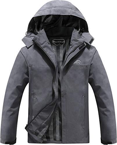OTU Men's Lightweight Waterproof Hooded Rain Jacket Outdoor Raincoat Shell Jacket for Hiking Travel