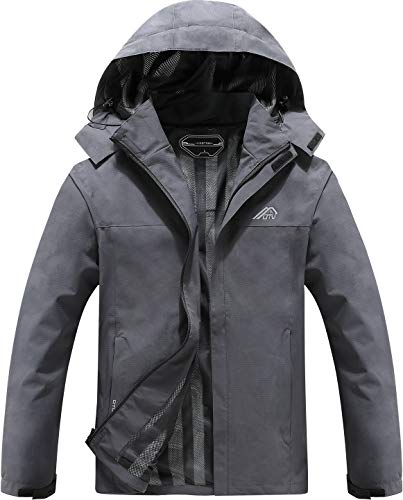 Men's Lightweight Waterproof Hooded Rain Jacket Outdoor Raincoat Shell Jacket for Hiking Travel