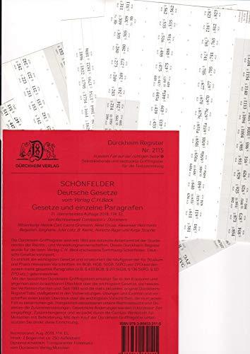 DürckheimRegister SCHÖNFELDER (2020) Gesetze und §§: 250 Registeretiketten (sog. Griffregister) für den SCHÖNFELDER, C.H. Beck Verlag • AT, ... usw.) • In jedem Fall auf der richtigen Seite