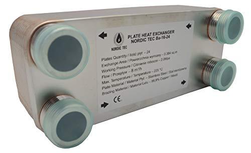 Intercambiador de calor de placas de acero inoxidable Nordic Tec Ba-16-24, 24 placas, 100 kW, 1