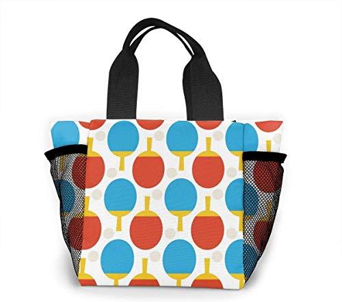 Bolsa de asas para mujer con raqueta de tenis de mesa de color, bolsa de almuerzo con patrón de corazón de colores, bolsa de compras, bolsa de almuerzo para viajes, oficina, playa