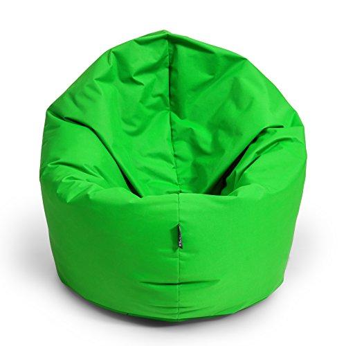 BuBiBag Sitzsack 2-in-1 100cm Durchmesser Funktionen mit Füllung Sitzkissen Bodenkissen Kissen Sessel BeanBag Joga 30 Farben (neongrün)