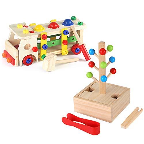 Jouets éducatifs pour enfants style minimaliste moderne jouets d'éducation précoce étanche à l'humidité / montage libre voiture en bois jouet perle labyrinthe jeu approprié pour 2-6 ans bébé utilise