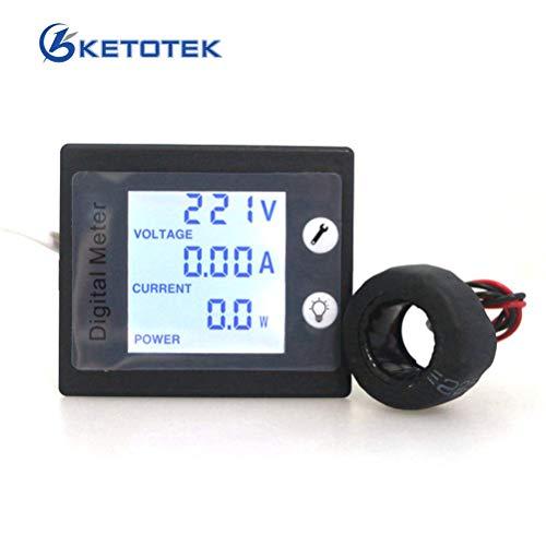 KETOTEK Amperemeter Voltmeter Rail Din CT Power Tester Stromspannung Digital AC 80-260 V 100A Volt Ampere Multimeter LCD Stromspannungsprüfer (AC 80-260V 100A)