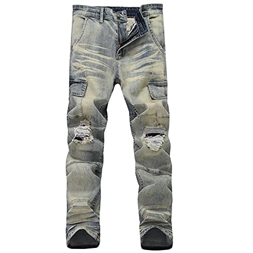 ShSnnwrl Jeans Hombre Jeans Retro Slim Hombre Pantalones Ripped Straight Hombre Pantalones de Mezclilla Big Size 34 Blue