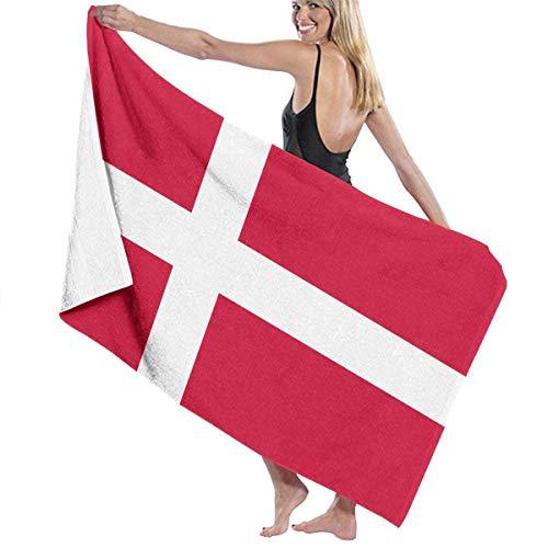 FSTGFFST Strandtücher für Damen Herren Dänemark Flagge Badetücher schnell trocknend Mehrzweck-Reise-Pool-Decke groß 78,7 x 137,1 cm