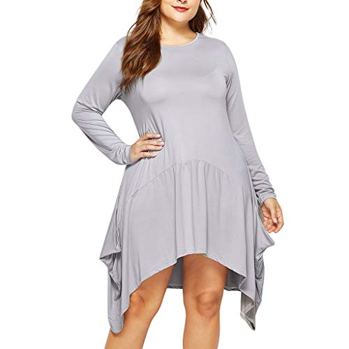 Fantastic Prices! TWGONE Fall Dresses for Women Plus Size Long Sleeve Solid Pockets Handkerchief Hem...