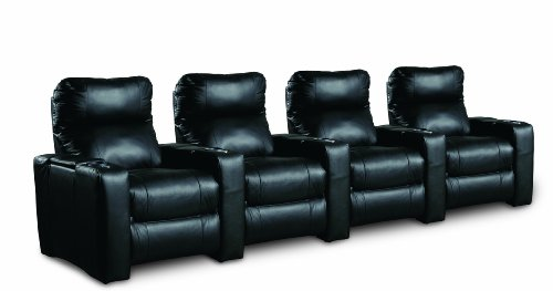 Hot Sale Lane Furniture Grand Slam Power Reclining Straight Front Home Theater Seating, 4-Seats in Black Leather