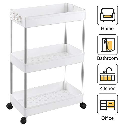SPACEKEEPER 3-Tier Slide Out Storage Cart Rolling Utility Cart Storage Shelf Rack Mobile Storage Organizer Shelving for Office, Kitchen, Bedroom,...