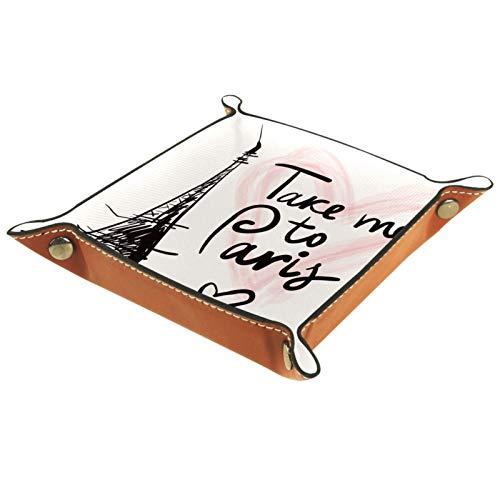 YATELI Caja de Almacenamiento pequeña, Bandeja de Valet para Hombre,Torre Eiffel de París,Organizador de Cuero para Llaves de Caja de Monedas