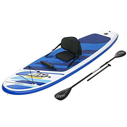 Bestway Hydro Force Oceana Inflatable 10 Foot SUP Stand Up Paddle Board Set with Hand Pump, Paddle, Backpack, Fin, and Surf Leash Accessories