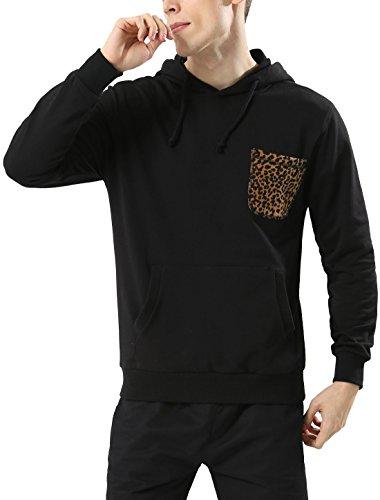 Allegra K Sudadera con Capucha De Cordón Bolsillo Canguro con Estampado De Leopardo para Hombre - Negro/M (US 38), M (EU 48)